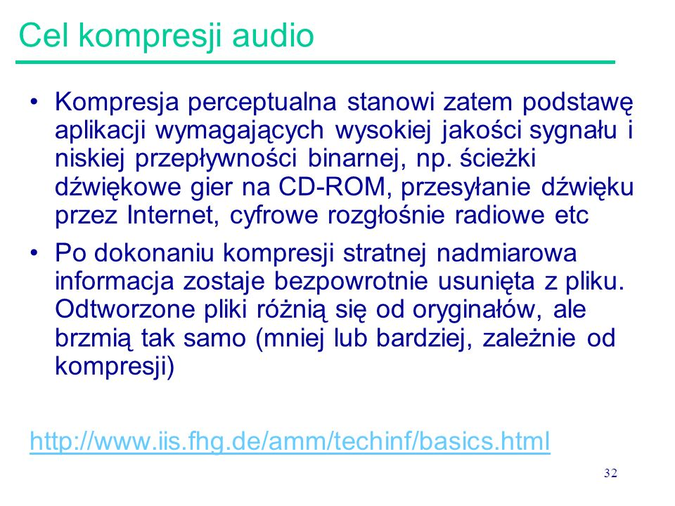 Cel kompresji audio