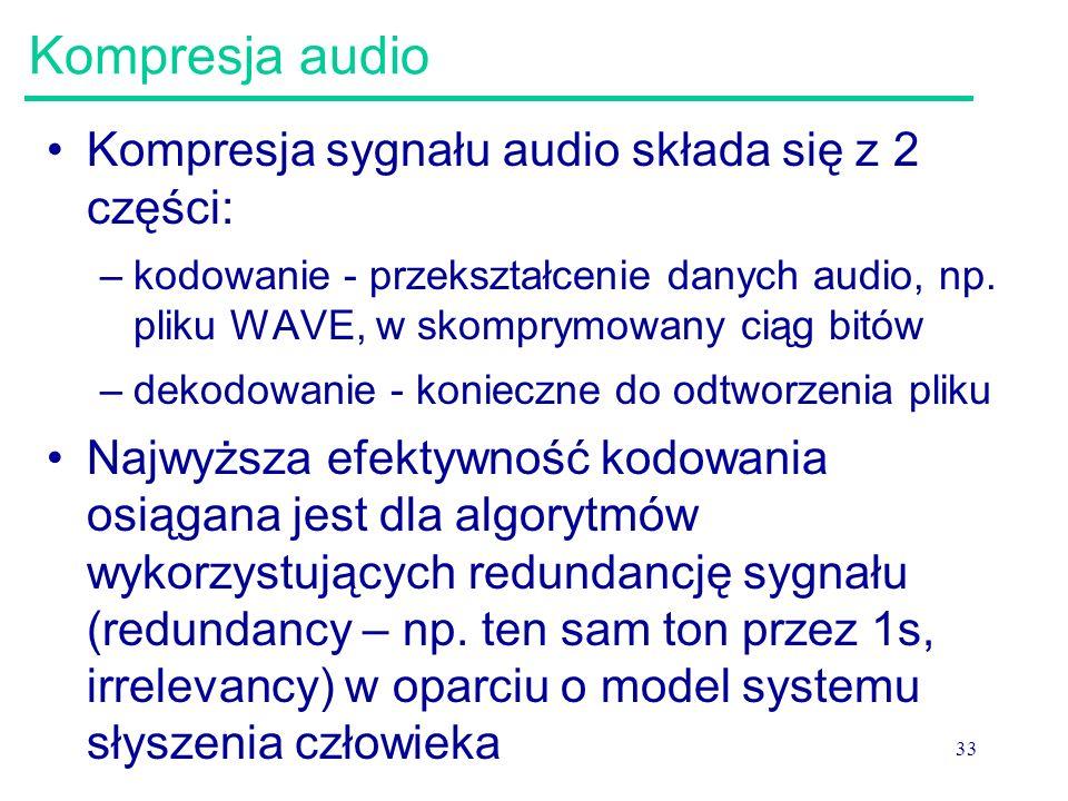 Kompresja audio Kompresja sygnału audio składa się z 2 części: