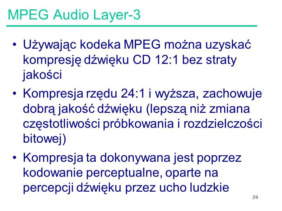 MPEG Audio Layer-3 Używając kodeka MPEG można uzyskać kompresję dźwięku CD 12:1 bez straty jakości.