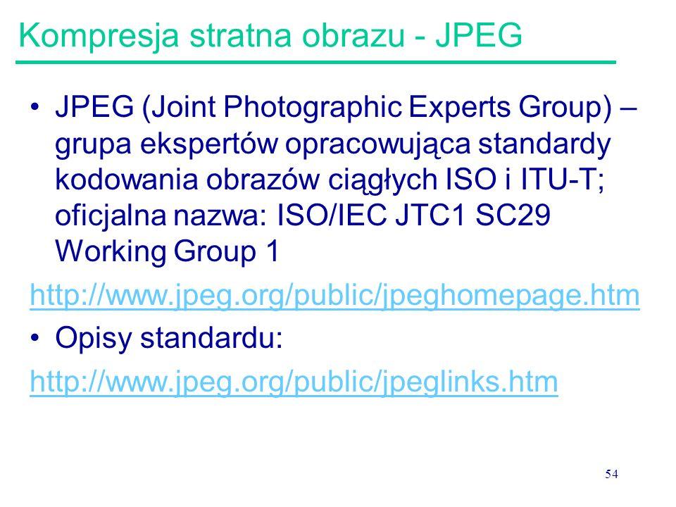 Kompresja stratna obrazu - JPEG