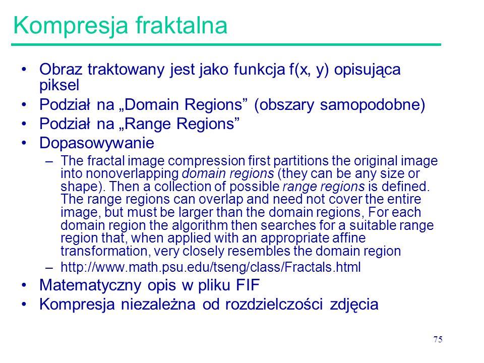 """Kompresja fraktalna Obraz traktowany jest jako funkcja f(x, y) opisująca piksel. Podział na """"Domain Regions (obszary samopodobne)"""