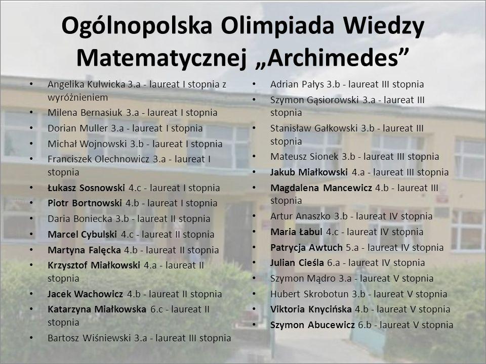 """Ogólnopolska Olimpiada Wiedzy Matematycznej """"Archimedes"""