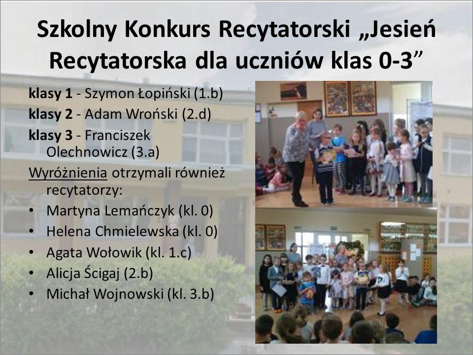 """Szkolny Konkurs Recytatorski """"Jesień Recytatorska dla uczniów klas 0-3"""