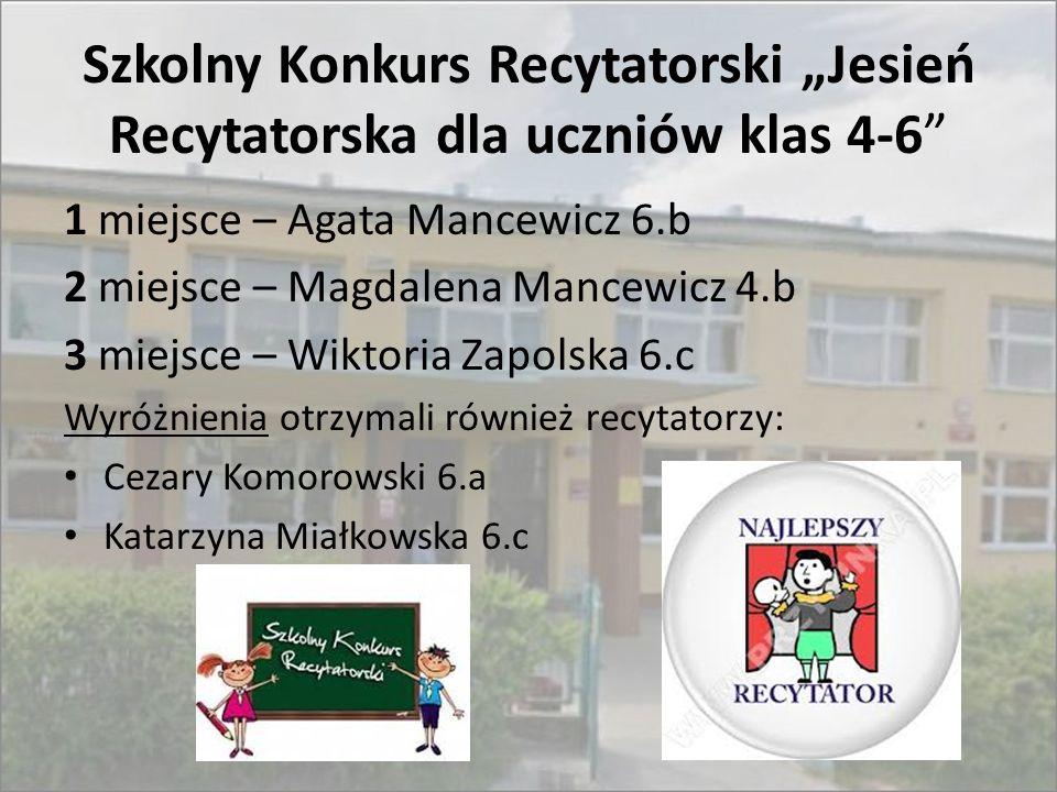 """Szkolny Konkurs Recytatorski """"Jesień Recytatorska dla uczniów klas 4-6"""