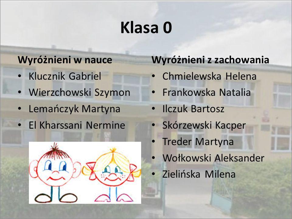 Klasa 0 Wyróżnieni w nauce Klucznik Gabriel Wierzchowski Szymon