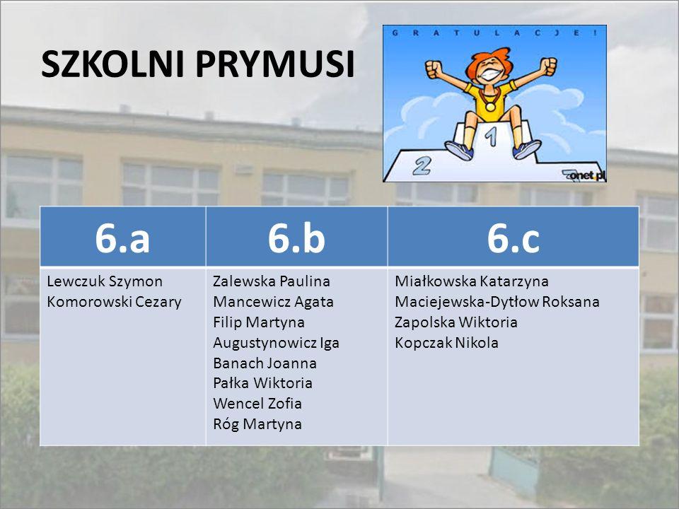 6.a 6.b 6.c SZKOLNI PRYMUSI Lewczuk Szymon Komorowski Cezary
