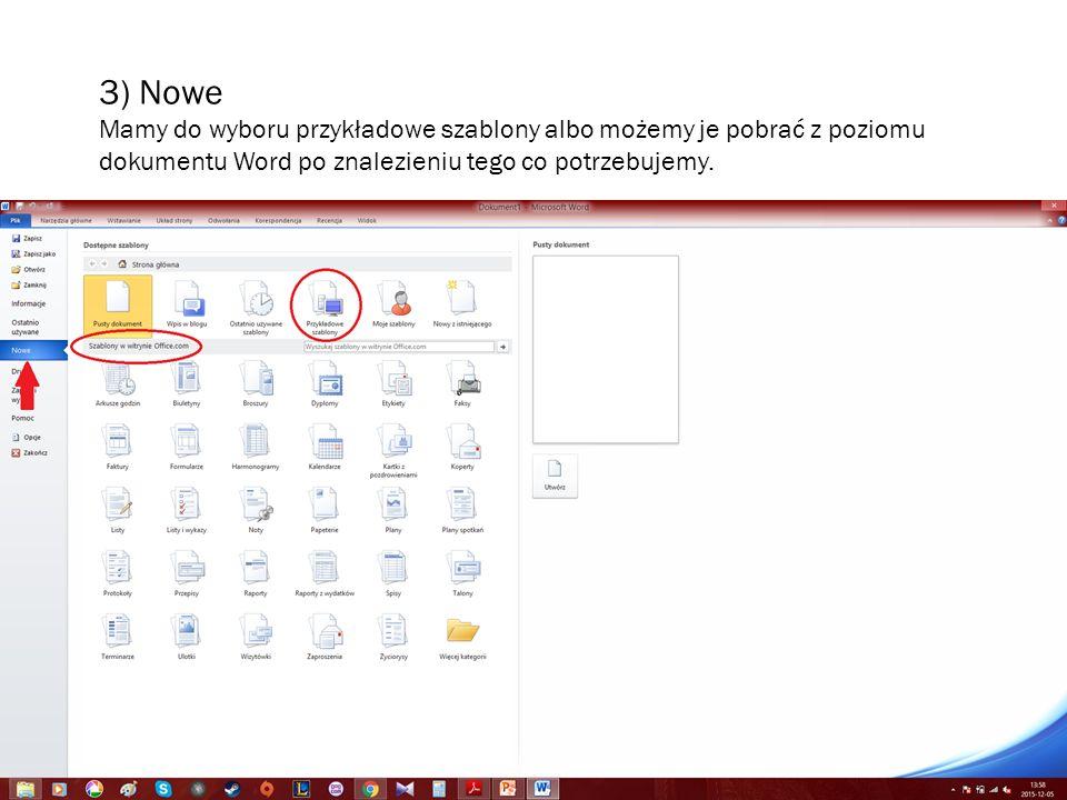 3) Nowe Mamy do wyboru przykładowe szablony albo możemy je pobrać z poziomu dokumentu Word po znalezieniu tego co potrzebujemy.