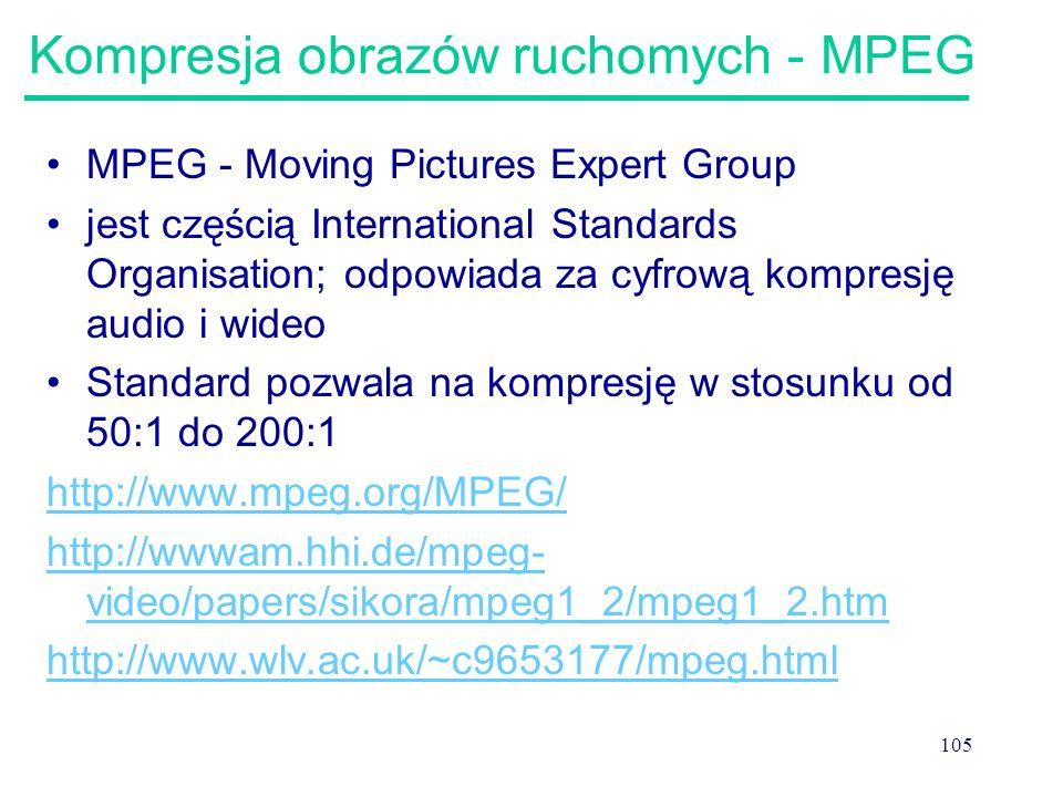 Kompresja obrazów ruchomych - MPEG
