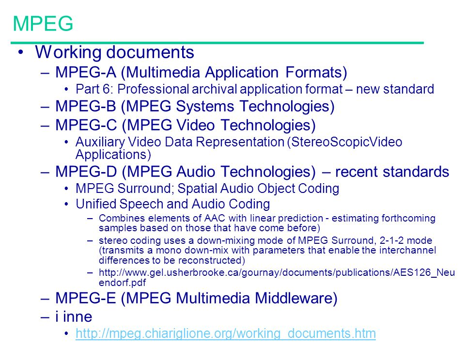 MPEG Working documents MPEG-A (Multimedia Application Formats)