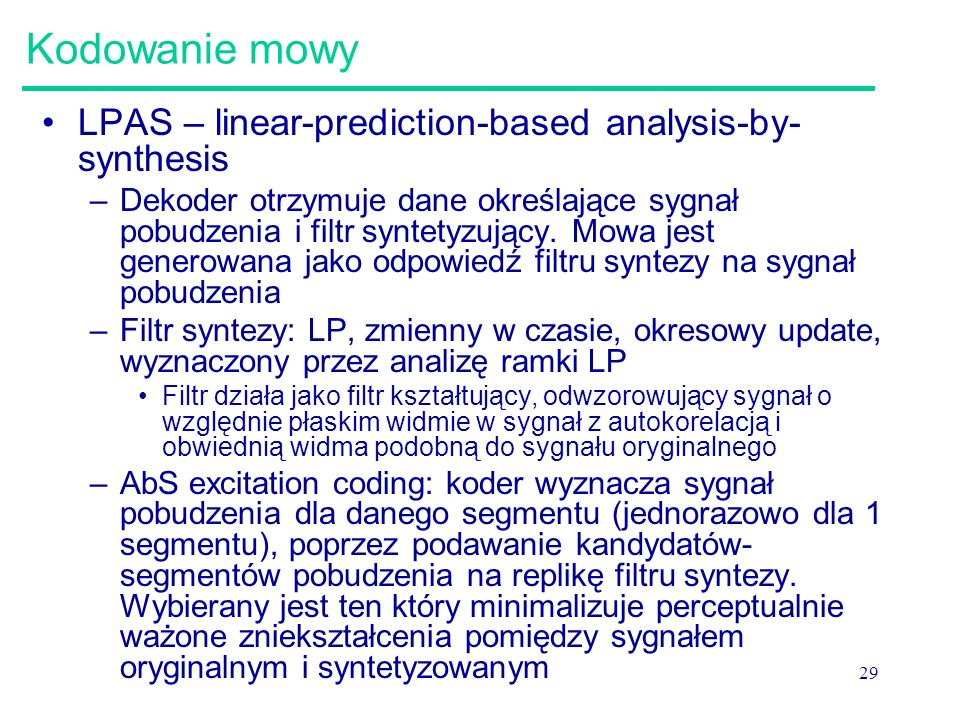 Kodowanie mowy LPAS – linear-prediction-based analysis-by-synthesis