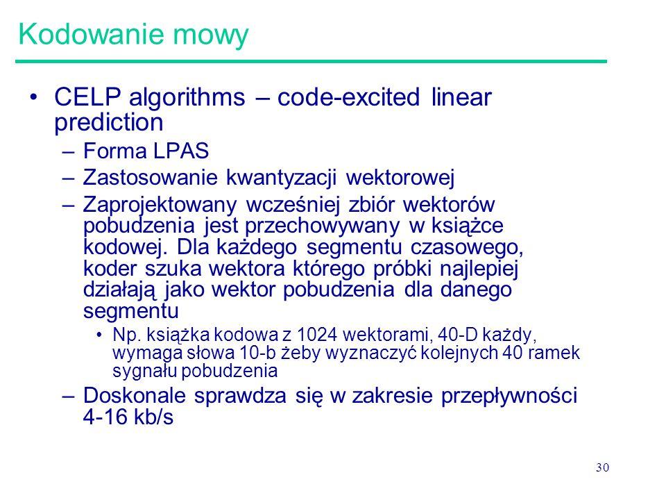 Kodowanie mowy CELP algorithms – code-excited linear prediction