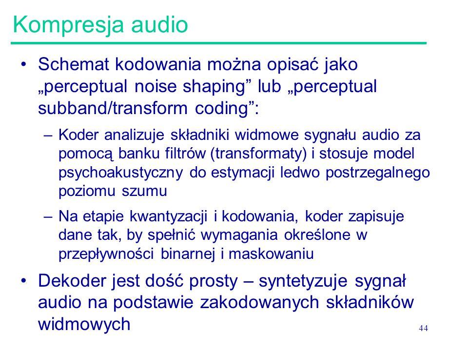 "Kompresja audio Schemat kodowania można opisać jako ""perceptual noise shaping lub ""perceptual subband/transform coding :"