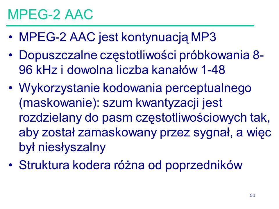 MPEG-2 AAC MPEG-2 AAC jest kontynuacją MP3