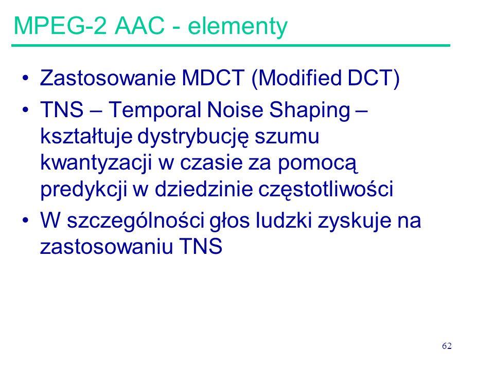 MPEG-2 AAC - elementy Zastosowanie MDCT (Modified DCT)