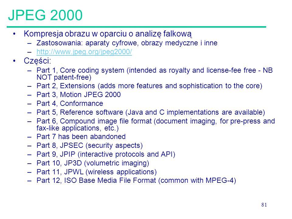 JPEG 2000 Kompresja obrazu w oparciu o analizę falkową Części:
