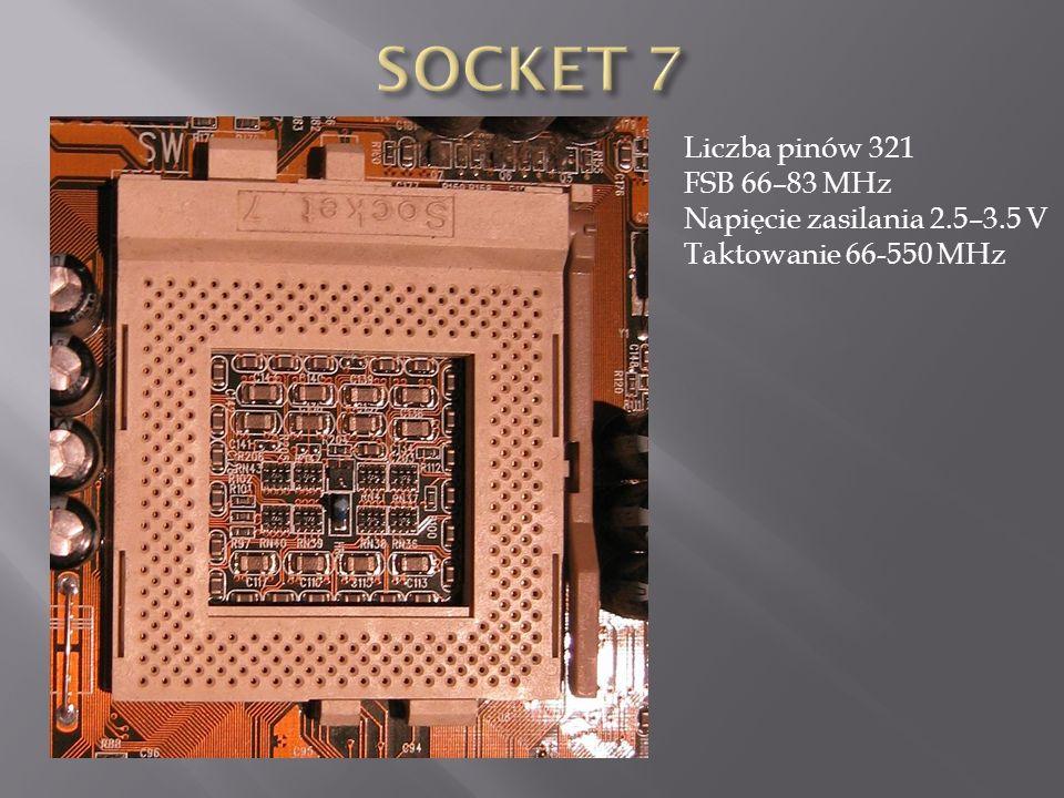 SOCKET 7 Liczba pinów 321 FSB 66–83 MHz Napięcie zasilania 2.5–3.5 V
