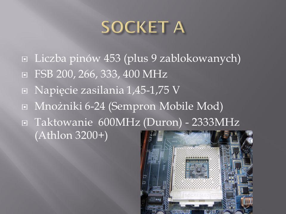 SOCKET A Liczba pinów 453 (plus 9 zablokowanych)