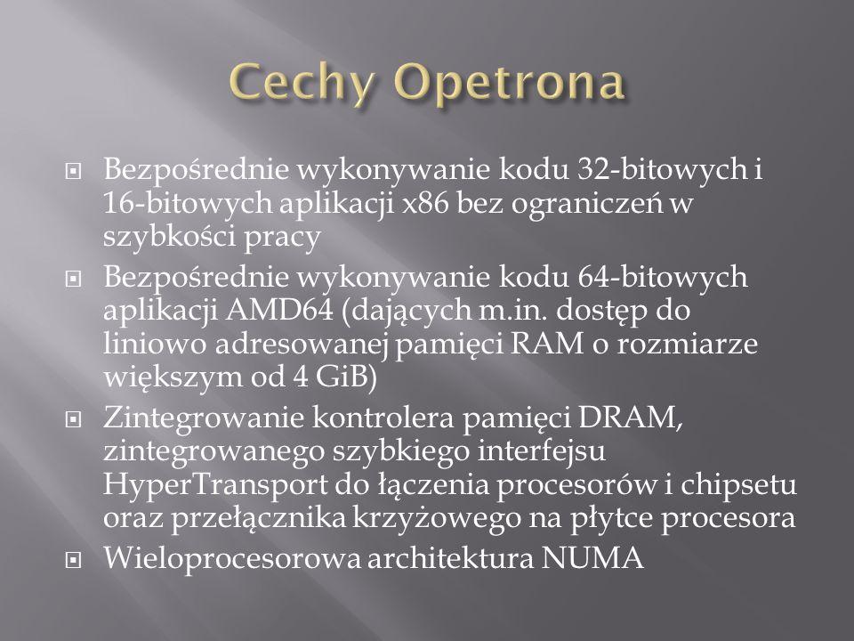 Cechy Opetrona Bezpośrednie wykonywanie kodu 32-bitowych i 16-bitowych aplikacji x86 bez ograniczeń w szybkości pracy.