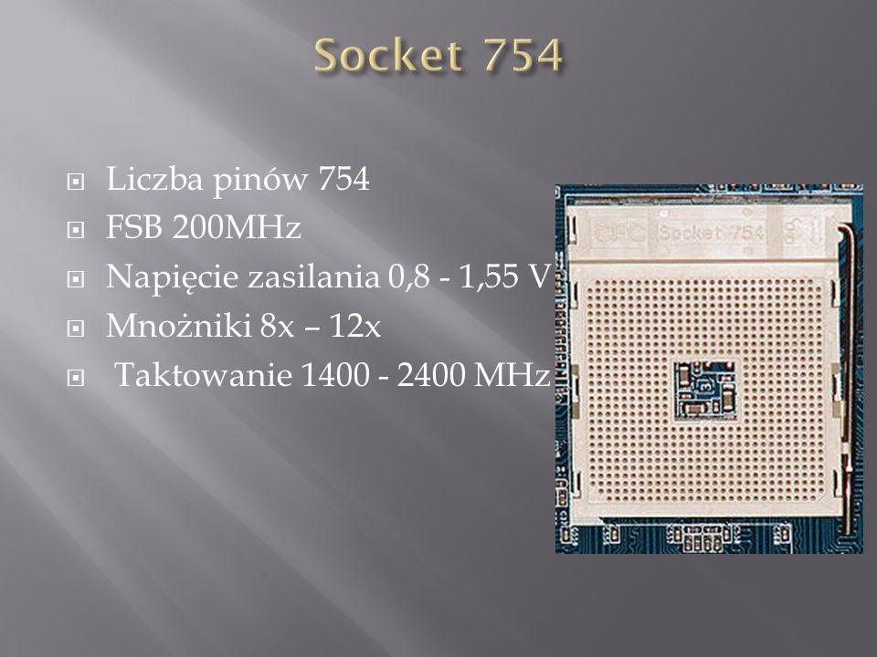 Socket 754 Liczba pinów 754 FSB 200MHz Napięcie zasilania 0,8 - 1,55 V