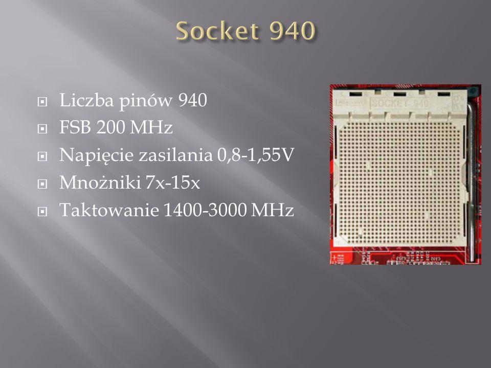 Socket 940 Liczba pinów 940 FSB 200 MHz Napięcie zasilania 0,8-1,55V