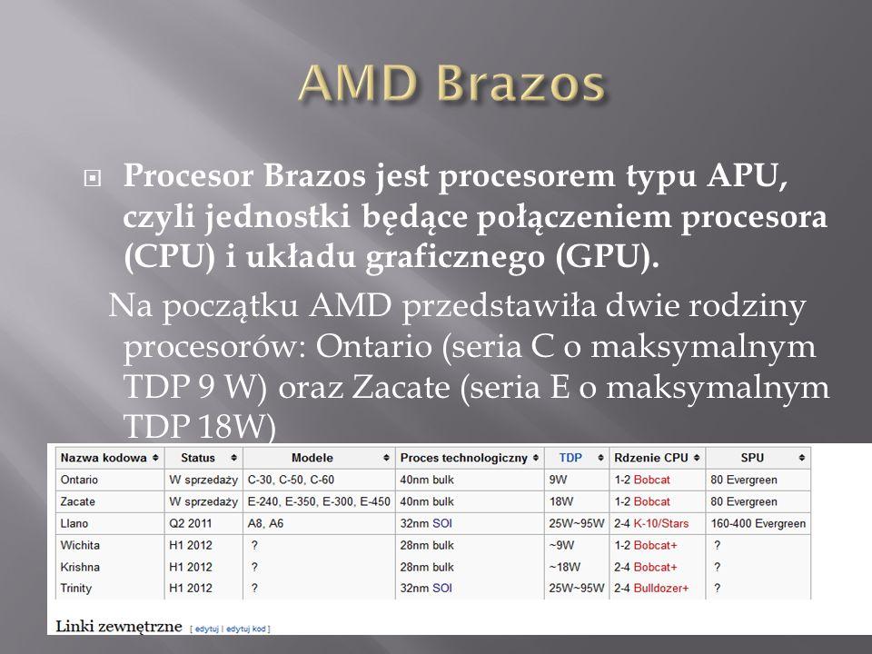 AMD Brazos Procesor Brazos jest procesorem typu APU, czyli jednostki będące połączeniem procesora (CPU) i układu graficznego (GPU).