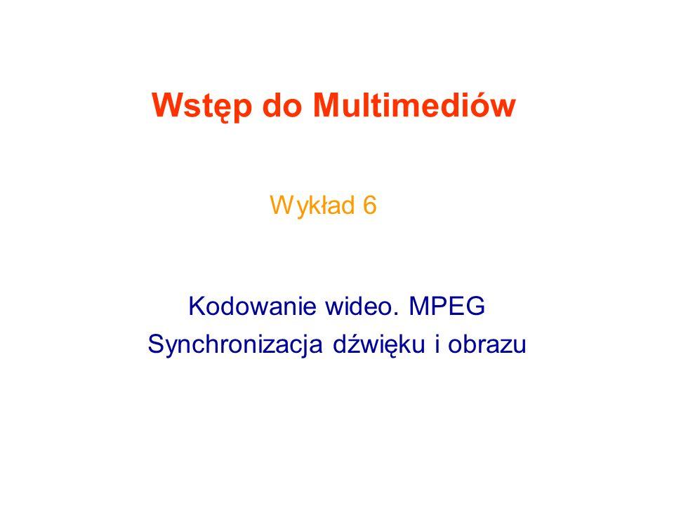 Kodowanie wideo. MPEG Synchronizacja dźwięku i obrazu