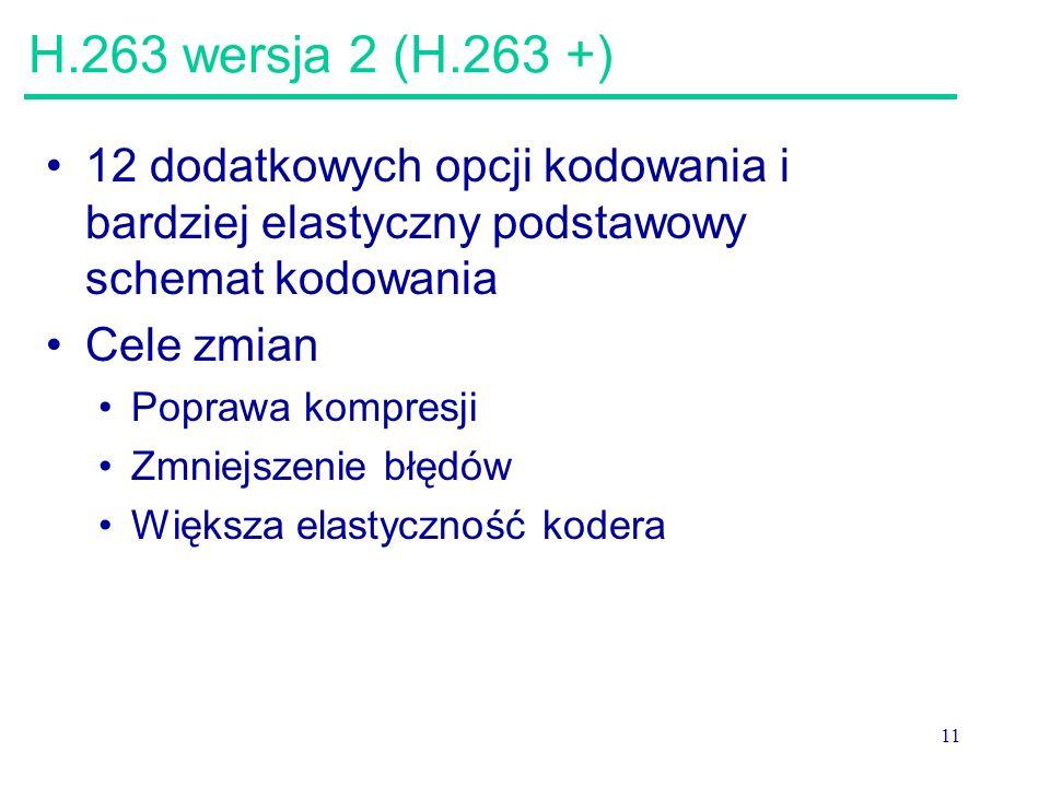 H.263 wersja 2 (H.263 +) 12 dodatkowych opcji kodowania i bardziej elastyczny podstawowy schemat kodowania.