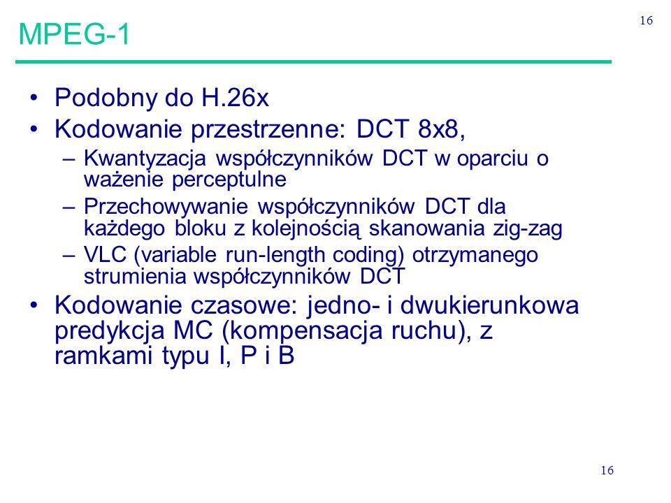 MPEG-1 Podobny do H.26x Kodowanie przestrzenne: DCT 8x8,