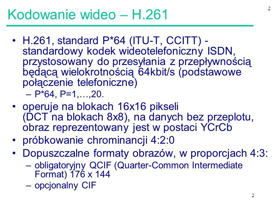 Kodowanie wideo – H.261 2.