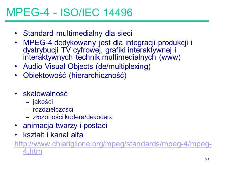 MPEG-4 - ISO/IEC 14496 Standard multimedialny dla sieci
