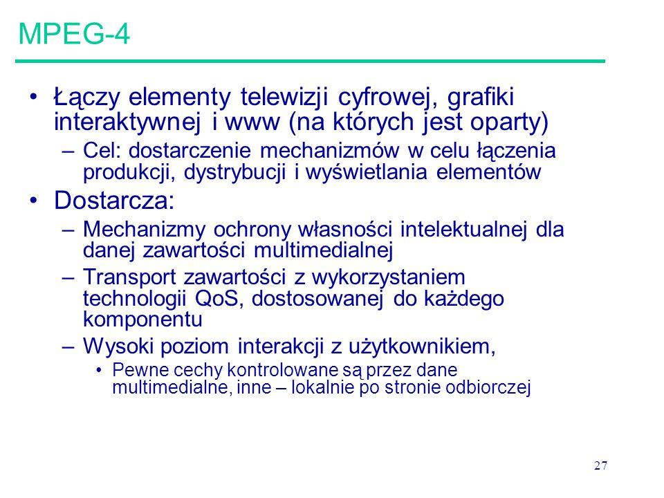 MPEG-4 Łączy elementy telewizji cyfrowej, grafiki interaktywnej i www (na których jest oparty)