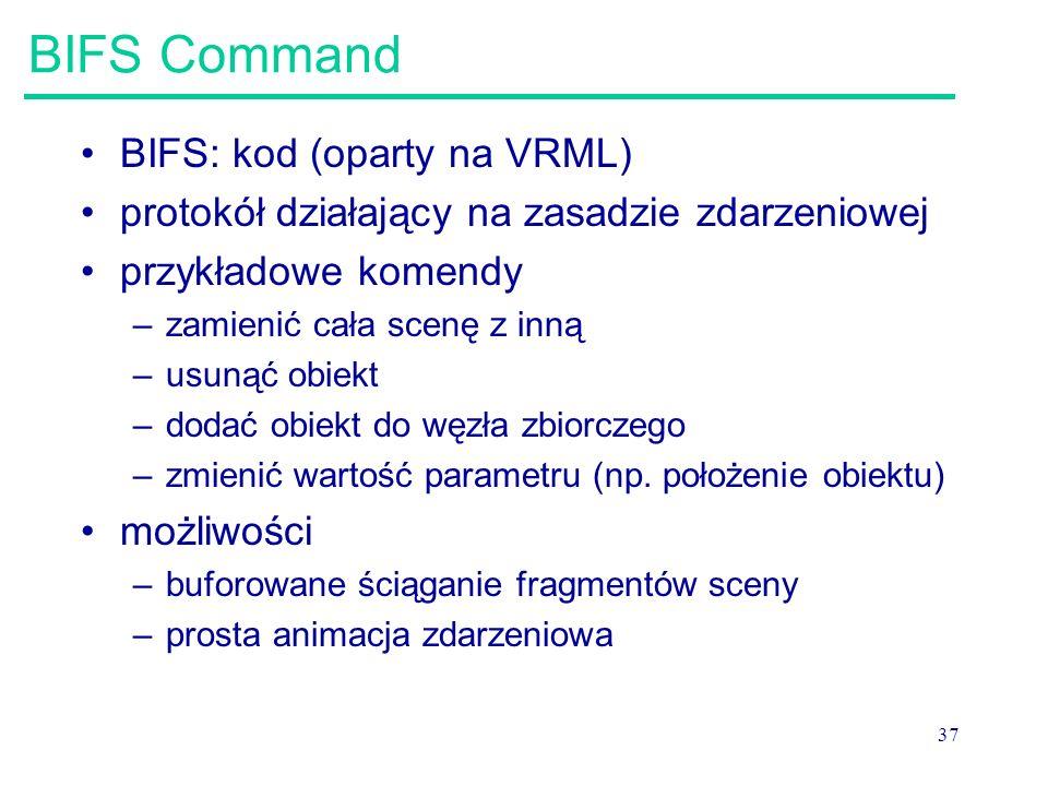 BIFS Command BIFS: kod (oparty na VRML)