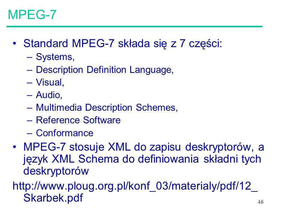 MPEG-7 Standard MPEG-7 składa się z 7 części: