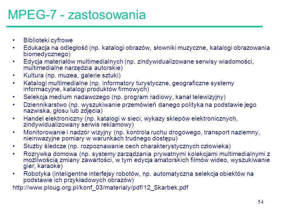 MPEG-7 - zastosowania Biblioteki cyfrowe