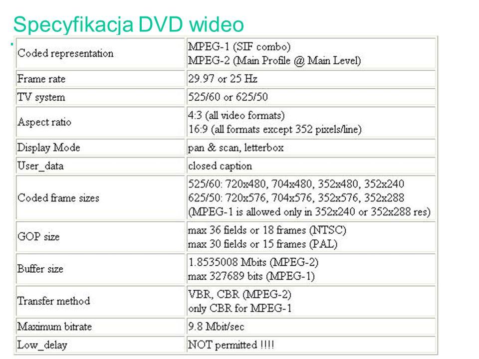 Specyfikacja DVD wideo
