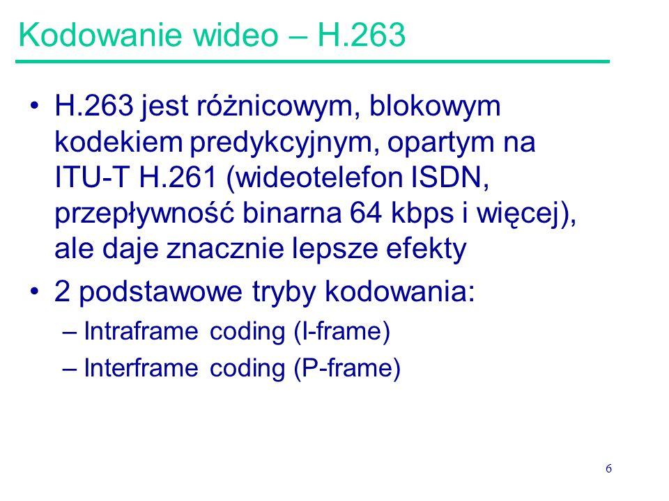 Kodowanie wideo – H.263