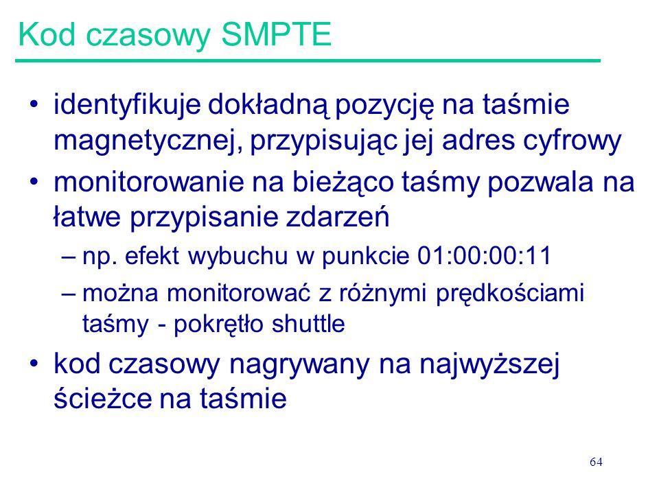 Kod czasowy SMPTE identyfikuje dokładną pozycję na taśmie magnetycznej, przypisując jej adres cyfrowy.