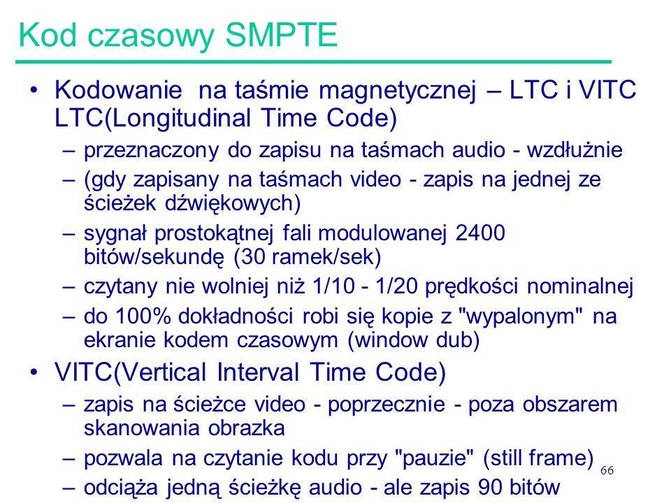 Kod czasowy SMPTE Kodowanie na taśmie magnetycznej – LTC i VITC LTC(Longitudinal Time Code) przeznaczony do zapisu na taśmach audio - wzdłużnie.