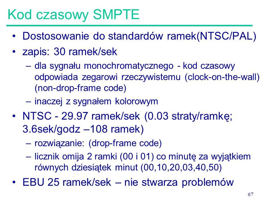Kod czasowy SMPTE Dostosowanie do standardów ramek(NTSC/PAL)