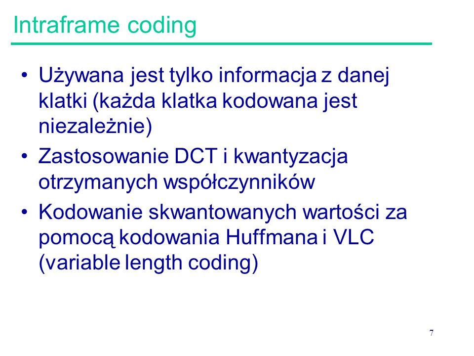 Intraframe coding Używana jest tylko informacja z danej klatki (każda klatka kodowana jest niezależnie)