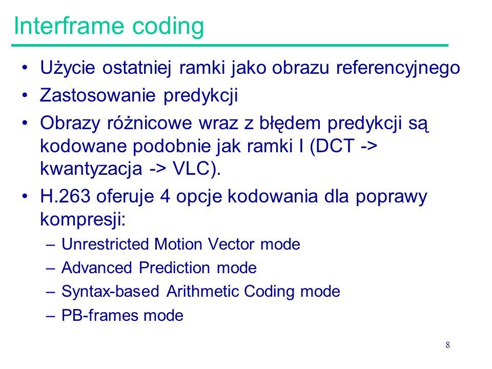 Interframe coding Użycie ostatniej ramki jako obrazu referencyjnego