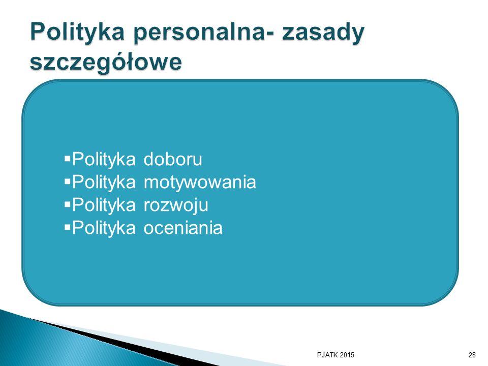 Polityka personalna- zasady szczegółowe