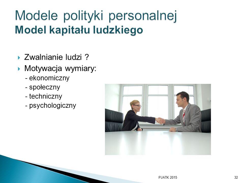 Modele polityki personalnej Model kapitału ludzkiego