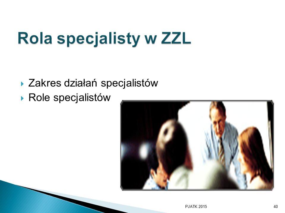 Rola specjalisty w ZZL Zakres działań specjalistów Role specjalistów