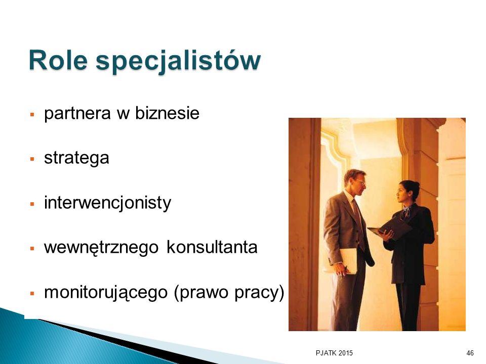 Role specjalistów partnera w biznesie stratega interwencjonisty