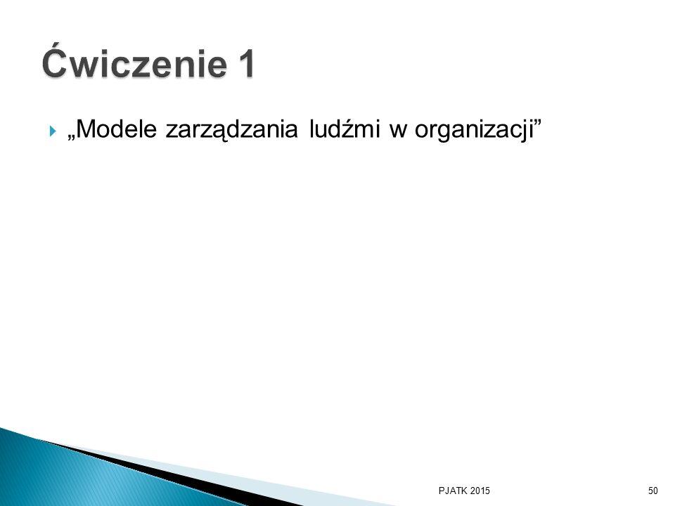 """Ćwiczenie 1 """"Modele zarządzania ludźmi w organizacji PJATK 2015"""