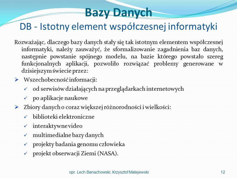 Bazy Danych DB - Istotny element współczesnej informatyki