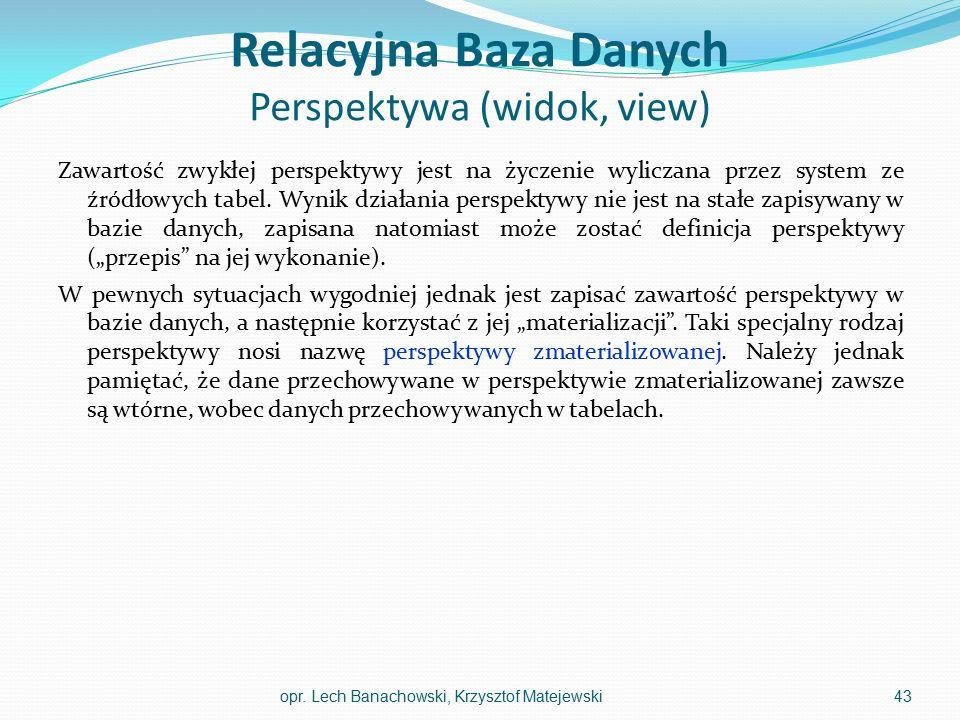 Relacyjna Baza Danych Perspektywa (widok, view)