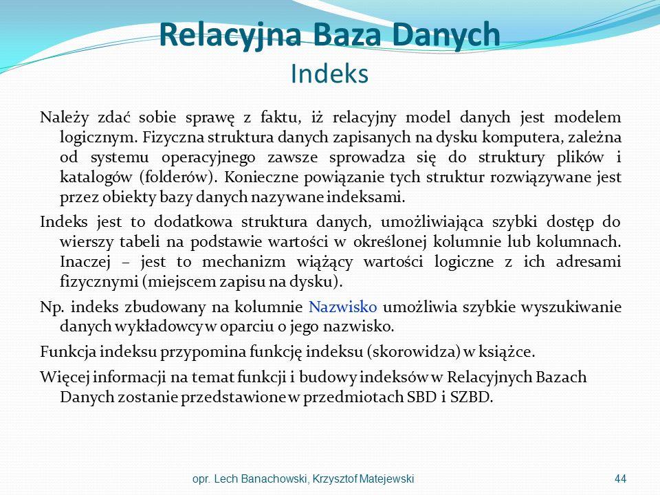 Relacyjna Baza Danych Indeks