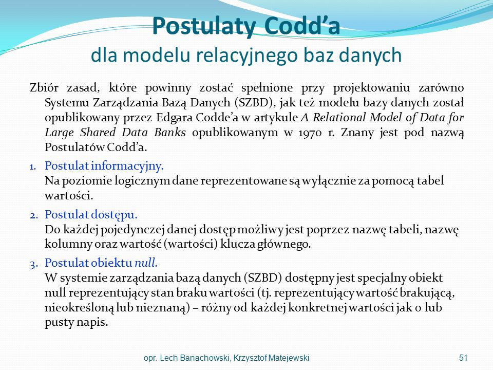 Postulaty Codd'a dla modelu relacyjnego baz danych